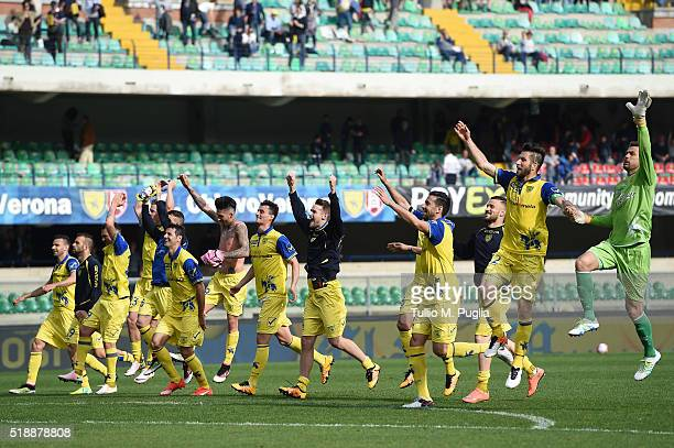 Players of Chievo celebrates after winning the Serie A match between AC Chievo Verona and US Citta di Palermo at Stadio Marc'Antonio Bentegodi on...