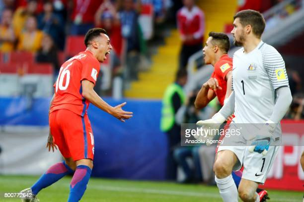 Players of Chile celebrate after scoring a goal during the 2017 FIFA Confederations Cup match between Chile and Australia at Spartak Stadium in...