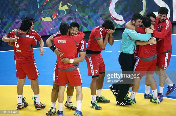Players of Chile celebrate after the 25th IHF Men's World Championship 2017 match between Belarus and Chile at Kindarena on January 13 2017 in Rouen...