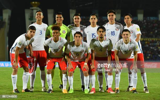 Players of Chile pose for a team photograph during the FIFA U17 World Cup India 2017 group E match between Mexico and Chile at Indira Gandhi Athletic...