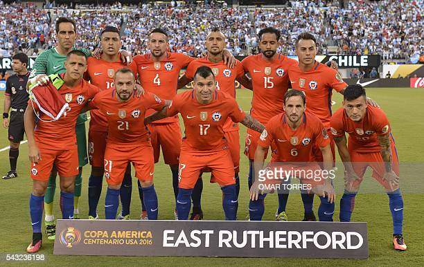 Players of Chile pose for pictures before the start of the Copa America Centenario final against Argentina in East Rutherford New Jersey United...