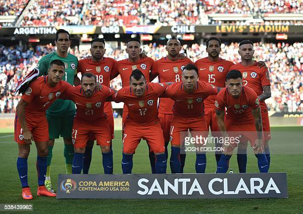 Players of Chile pose for pictures before the start of their Copa America Centenario football tournament match against Argentina in Santa Clara...