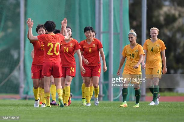 Players of China celebrates after scoring a goal against Australia during the Women's Algarve Cup Tournament match between China and Australia at...