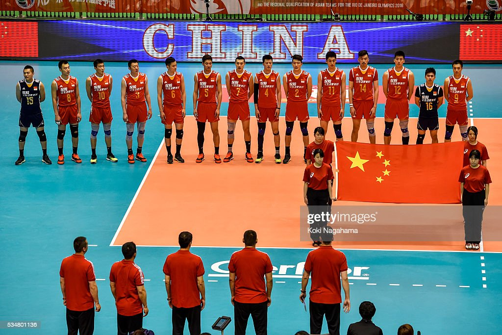Players of China line up for their national anthem prior to the Men's World Olympic Qualification game between China and France at Tokyo Metropolitan Gymnasium on May 28, 2016 in Tokyo, Japan.