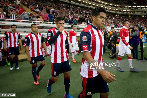 Players of Chivas and Toluca get in the field prior the 9th round match between Chivas and Toluca as part of the Torneo Clausura 2017 Liga MX at...