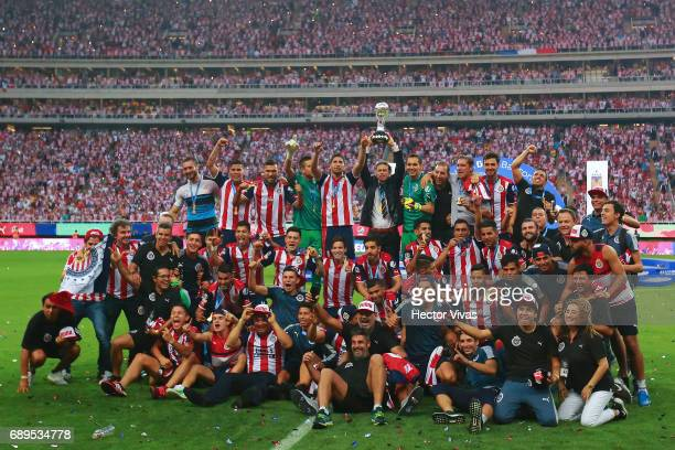 Players of Chivas celebrates their championship after the Final second leg match between Chivas and Tigres UANL as part of the Torneo Clausura 2017...