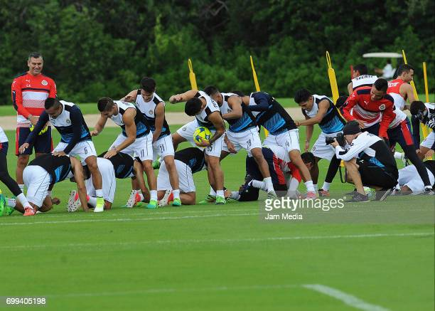 Players of Chivas in action during the Pre Season training for the Torneo Apertura 2017 Liga MX at Hotel Moon Palace on June 21 2017 in Cancun Mexico