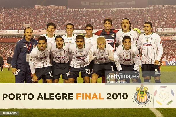Players of Chivas pose for a photograph before a match against Internacional in a match as part of the 2010 Copa Santander Libertadores at Beira Rio...
