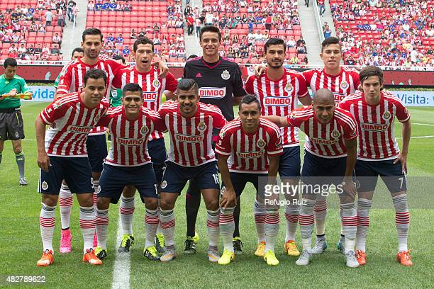 Players of Chivas pose for a team photo prior a 2nd round match between Chivas and Cruz Azul as part of the Apertura 2015 Liga MX at Omnilife Stadium...