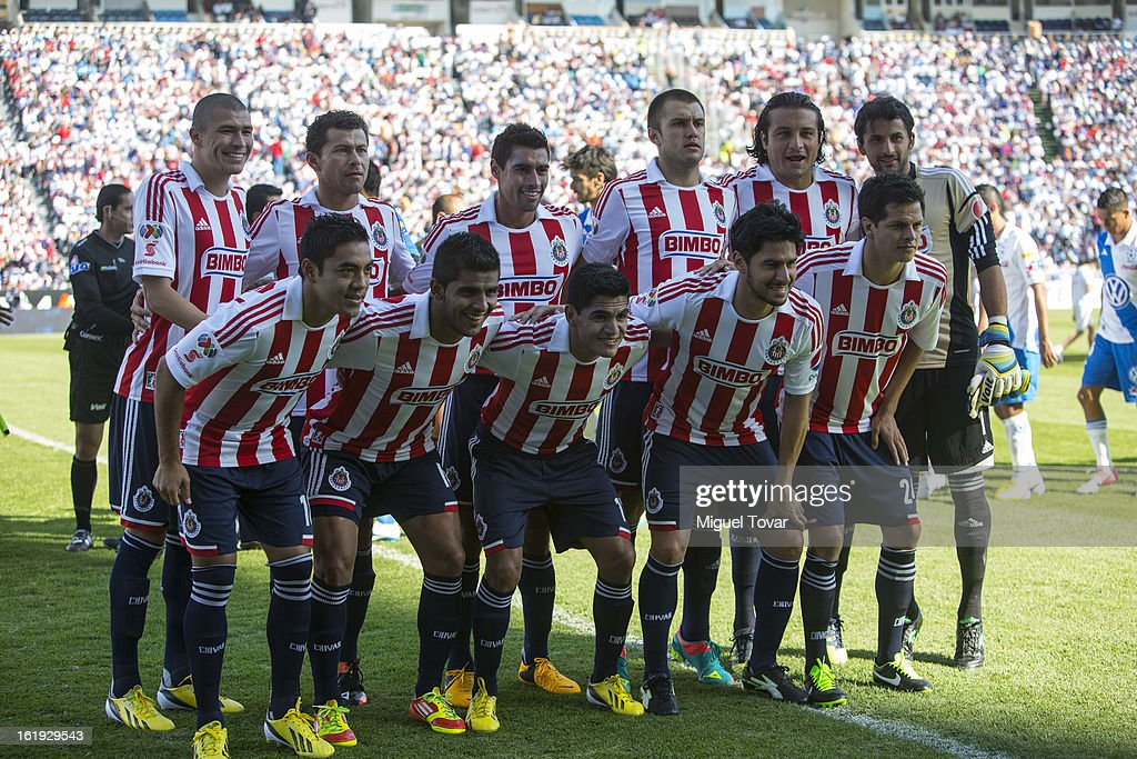 Players of Chivas pose for a team photo prior to a match between Puebla and Chivas as part of the Clausura 2013 at Cuauhtemoc Stadium on February 17, 2013 in Puebla, Mexico.