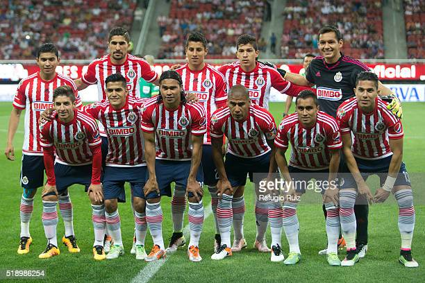 Players of Chivas pose for photos prior a 12th round match between Chivas and Pumas UNAM as part of the Clausura 2016 Liga MX at Chivas Stadium on...
