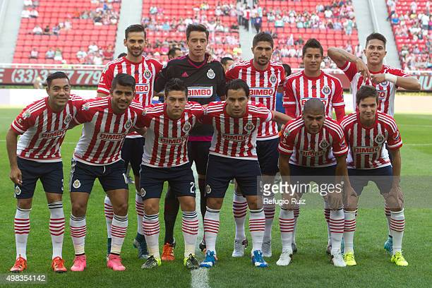 Players of Chivas pose for photos prior to a match between Chivas and Santos Laguna as part of the Apertura 2015 Liga MX at Omnilife Stadium on...