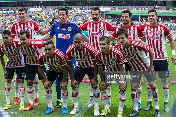 Players of Chivas pose for pictures prior a 10th round match between America and Chivas as part of the Apertura 2015 Liga MX at Azteca Stadium on...