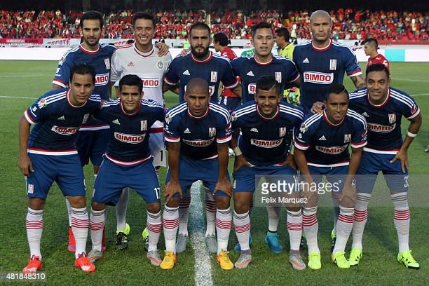 Players of Chivas pose prior a 1st round match between Veracruz and Chivas as part of the Apertura 2015 Liga MX at Luis 'Pirata' Fuente Stadium on...