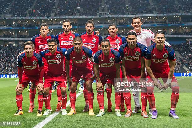 Players of Chivas pose prior the 11th round match between Monterrey and Chivas as part of the Clausura 2016 Liga MX at BBVA Bancomer Stadium on March...