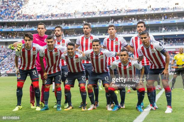 Players of Chivas pose prior the 4th round match between Monterrey and Chivas as part of the Torneo Apertura 2017 Liga MX at BBVA Bancomer Stadium on...