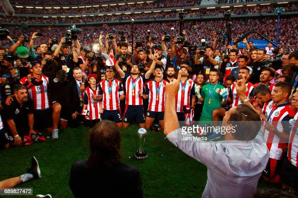 Players of Chivas pray after winning the Final second leg match between Chivas and Tigres UANL as part of the Torneo Clausura 2017 Liga MX at Chivas...