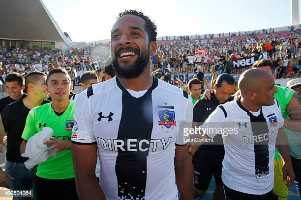 Players of Colo Colo celebrate after winning a match between during a match between U de Chile and Colo Colo as part of round 11 of Torneo Clausura...