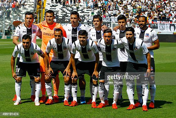 Players of Colo Colo pose for a group photo prior a match between Colo Colo and U de Concepcion as part of 14th round of Campeonato Apertura 2015 at...