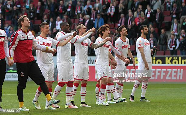 Players of Cologne greet their fans after the Bundesliga match between 1 FC Koeln and SV Darmstadt 98 at RheinEnergieStadion on April 23 2016 in...