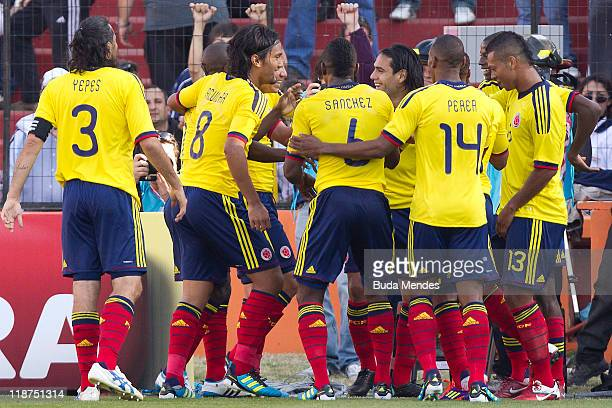 Players of Colombia celebrate a scored goal against Bolivia as part a match of Group A of Copa America 2011 at Brigadier Estanislao Lopez Stadium on...