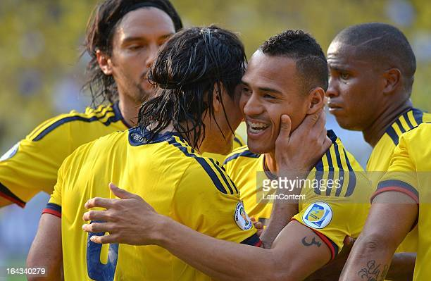 Players of Colombia celebrate a scored goal during a match between Colombia and Bolivia as part of the 11th round of the South American Qualifiers...