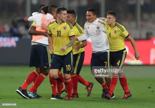 Players of Colombia celebrate the qualifying to the World Cup Russia 2018 after a match between Peru and Colombia as part of FIFA 2018 World Cup...
