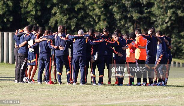 Players of Colombia join in a hug during a Colombia National Team training session at Sofitel Cardales on May 28 2014 in Buenos Aires Argentina