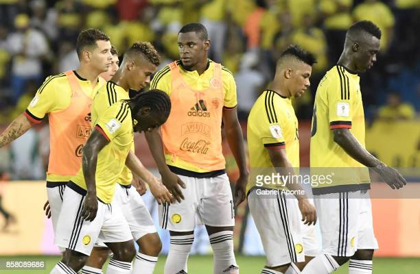 Players of Colombia look dejected after a match between Colombia and Paraguay as part of FIFA 2018 World Cup Qualifiers at Metropolitano Roberto...