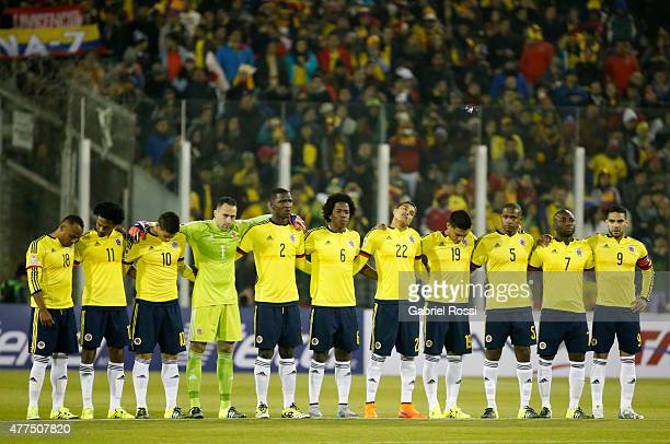 Players of Colombia pose during the national anthem prior the 2015 Copa America Chile Group C match between Brazil and Colombia at Monumental David...
