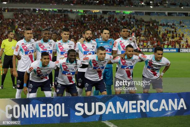 Players of Colombia's Junior de Barranquilla pose for photos before their Copa Sudamericana 1st leg of Semi Final soccer match with Brazil's Flamengo...