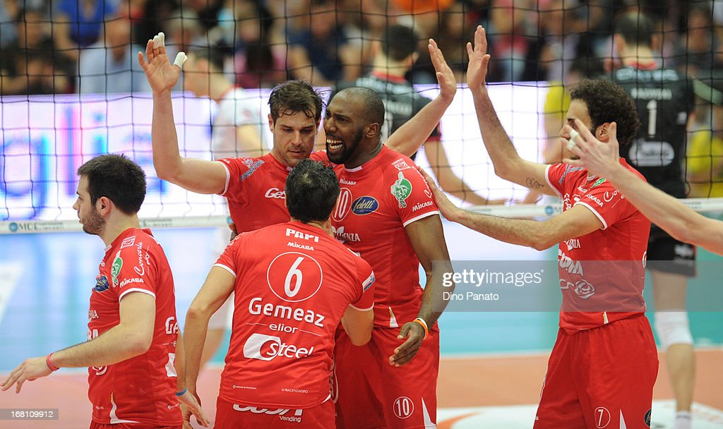 Players of Copra Elior Piacenza celebrate after scoring a point during game 4 of Playoffs Finals between Copra Elior Piacenza and Itas Diatec Trento at Palabanca on May 5, 2013 in Piacenza, Italy.