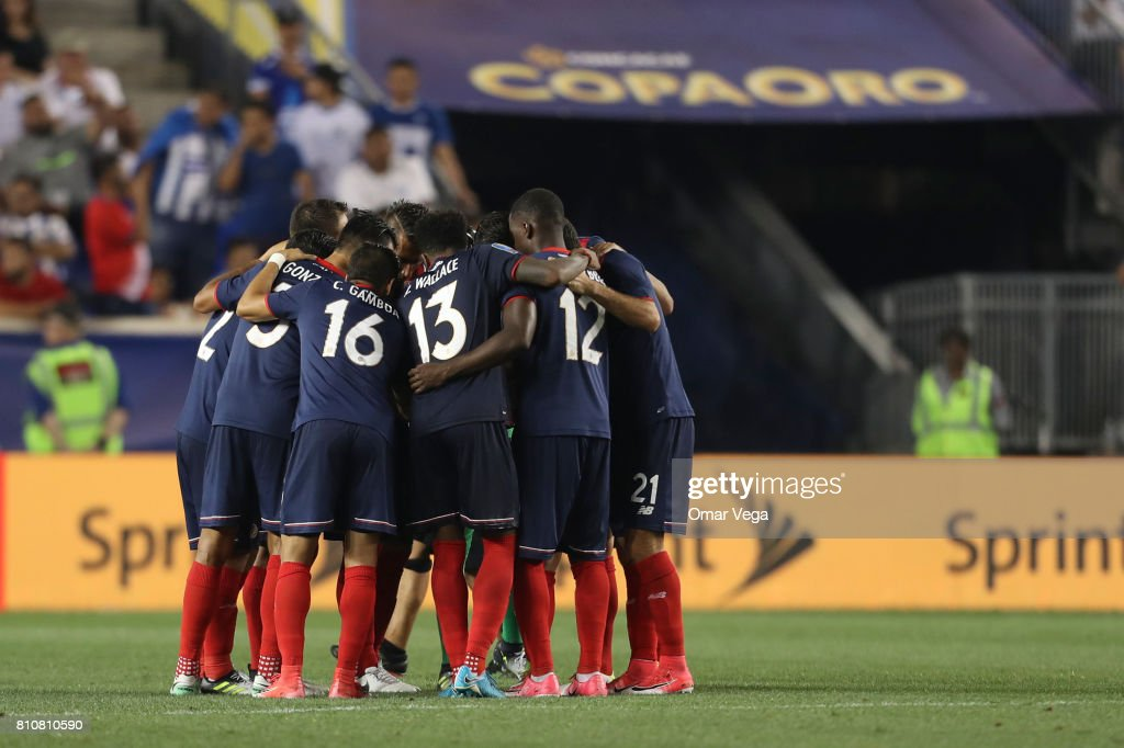 Players of Costa Rica gather prior the Group A match between Honduras and Costa Rica as part of the Gold Cup 2017 at Red Bull Arena on July 07, 2017 in Harrison, New Jersey.