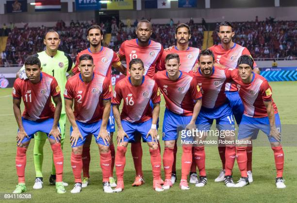 Players of Costa Rica pose during the match between Costa Rica and Panama as part of the FIFA 2018 World Cup Qualifiers at Estadio Nacional on June...