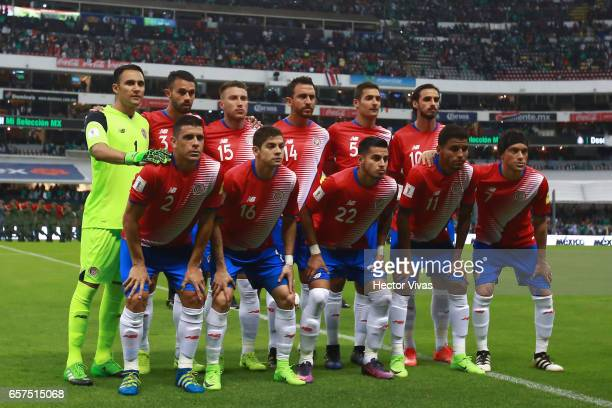 Players of Costa Rica pose prior the fifth round match between Mexico and Costa Rica as part of the FIFA 2018 World Cup Qualifiers at Azteca Stadium...