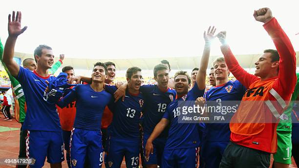 Players of Croatia celebrate after the FIFA U17 World Cup Chile 2015 Round of 16 match between Croatia and Germany at Estadio Municipal de Concepcion...