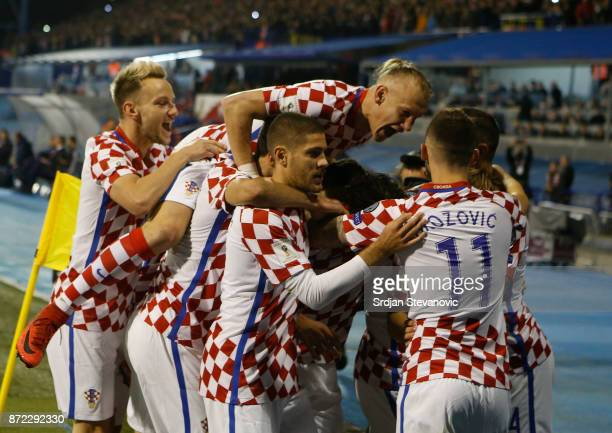 Players of Croatia celebrates during the FIFA 2018 World Cup Qualifier PlayOff First Leg between Croatia and Greece at Stadion Maksimir on November 9...