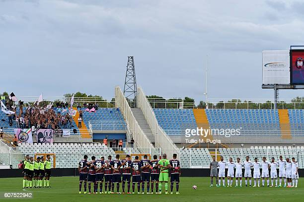 Players of Crotone and Palermo obseve one minute of silence in memory of former President of Italy Carlo Azelio Ciampi during the Serie A match...