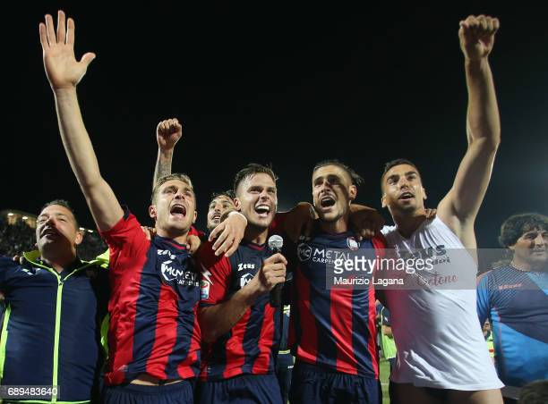 Players of Crotone celebrate after the Serie A match between FC Crotone and SS Lazio at Stadio Comunale Ezio Scida on May 28 2017 in Crotone Italy
