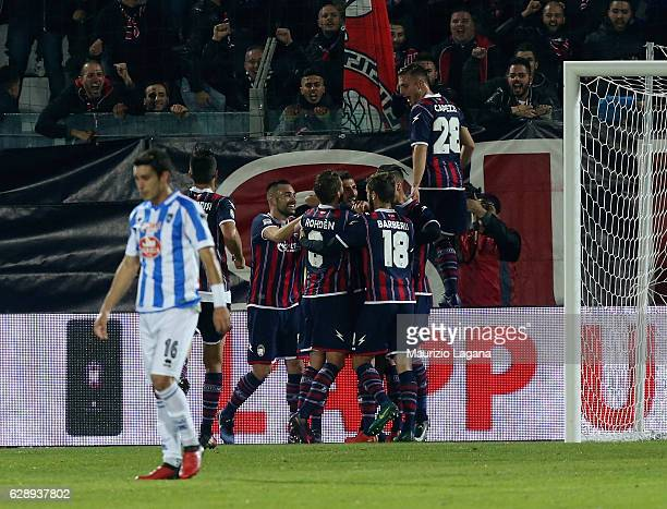 Players of Crotone celebrate the opening goal during the Serie A match between FC Crotone and Pescara Calcio at Stadio Comunale Ezio Scida on...