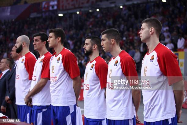 Players of Crvena Zvezda keep a minute of silence in memory of the victims of the recent floods in Athens during the 2017/2018 Turkish Airlines...