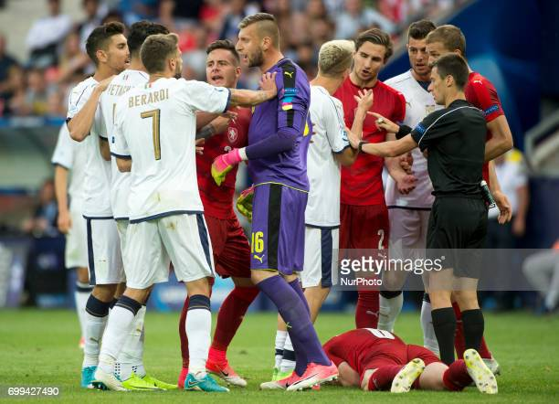 Players of Czech Republic and Italy talks each other after Andrea Petagna foul on Michael Luftner during the UEFA European Under21 Championship 2017...