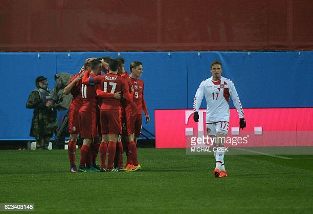 Players of Czech Republic celebrate after scoring during the friendly football match Czech Republic vs Denmark in Mlada Boleslav on November 15 2016...