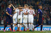 Players of Czech Republic celebrate after their victory after the UEFA EURO 2016 Group A Qualifier between Czech Republic and Netherlands at Generali...