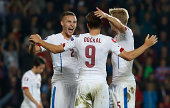 Players of Czech Republic celebrate their victory after the UEFA EURO 2016 Group A Qualifier between Czech Republic and Netherlands at Generali Arena...