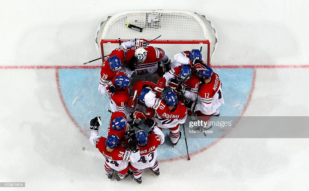 Players of Czech Republic celebrate victory over Germany after the IIHF World Championship group A match between Germany and Czech Repubic at o2 Arena on May 10, 2015 in Prague, Czech Republic.