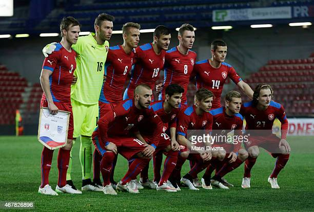 Players of Czech Republic pose before the international friendly match between U21 Czech Republic and U21 England at Letna Stadium on March 27 2015...