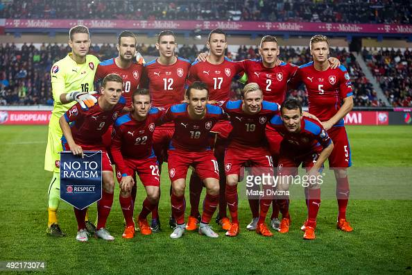 Players of Czech Republic pose for photographers before the UEFA EURO 2016 Group A Qualifier match between Czech Republic and Turkey at Letna Stadium...