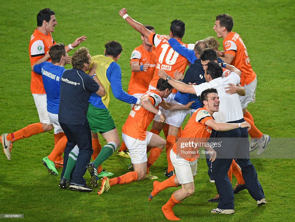 Players of Darmstadt celebrate during the Second Bundesliga Playoff Second Leg match between Arminia Bielefeld and Darmstadt 98 at Schueco Arena on May 19, 2014 in Bielefeld, Germany.