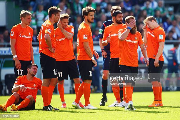 Players of Darmstadt react during the Second Bundesliga match between SpVgg Greuther Fuerth and SV Darmstadt 98 at TrolliArena on May 17 2015 in...